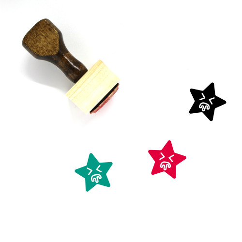 """Puke Star Emoji"" wooden rubber stamp with 3 sample imprints of the image"