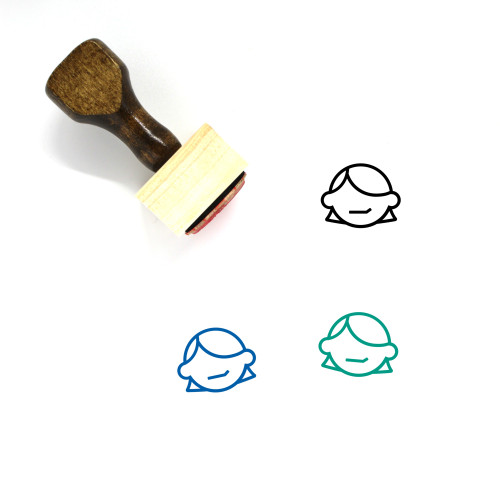 """""""Pleased"""" wooden rubber stamp with 3 sample imprints of the image"""