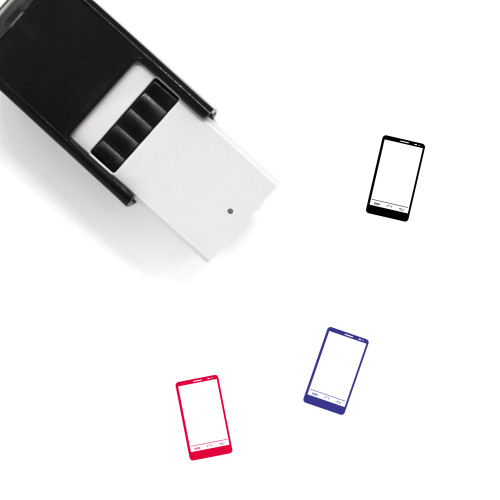"""Smart Phone"" self-inking rubber stamp with 3 sample imprints of the image"
