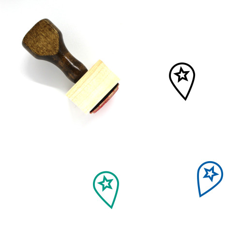 """""""Favorite Location"""" wooden rubber stamp with 3 sample imprints of the image"""
