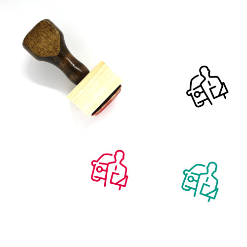 """Auto Agent"" wooden rubber stamp with 3 sample imprints of the image"