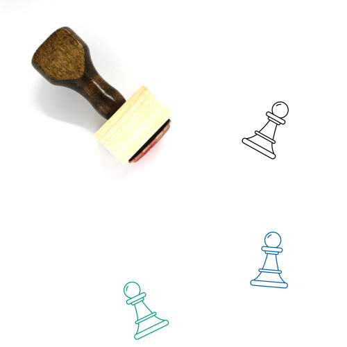 """""""White Pawn"""" wooden rubber stamp with 3 sample imprints of the image"""