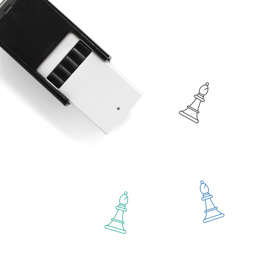 """""""White Bishop"""" self-inking rubber stamp with 3 sample imprints of the image"""