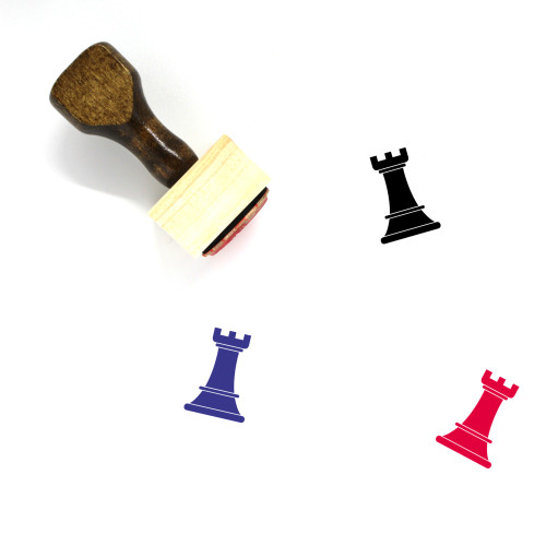 """Black Rook"" wooden rubber stamp with 3 sample imprints of the image"