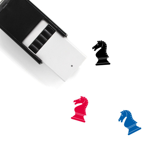 """Black Knight"" self-inking rubber stamp with 3 sample imprints of the image"