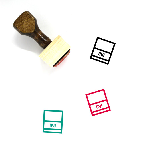 """Ini"" wooden rubber stamp with 3 sample imprints of the image"