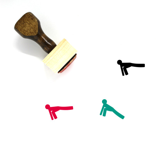 """""""Lunge"""" wooden rubber stamp with 3 sample imprints of the image"""