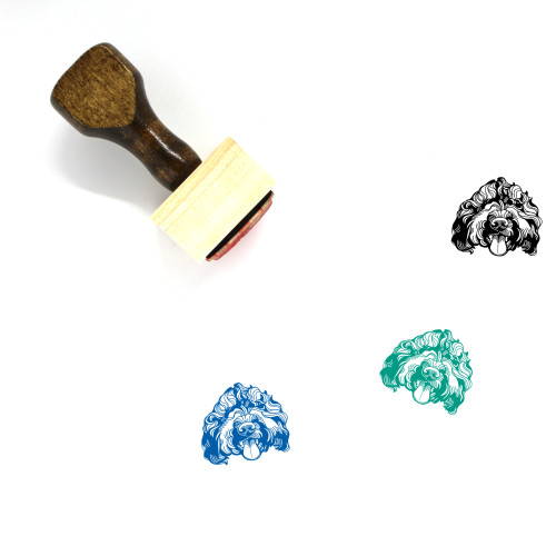 """""""Barbet"""" wooden rubber stamp with 3 sample imprints of the image"""