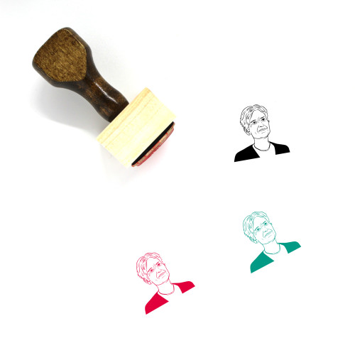 """""""Jill Stein"""" wooden rubber stamp with 3 sample imprints of the image"""