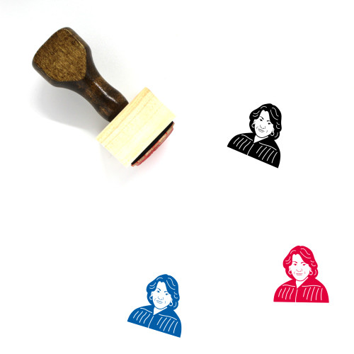 """""""Sonia Sotomayor"""" wooden rubber stamp with 3 sample imprints of the image"""