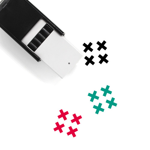 """""""Four Xs"""" self-inking rubber stamp with 3 sample imprints of the image"""