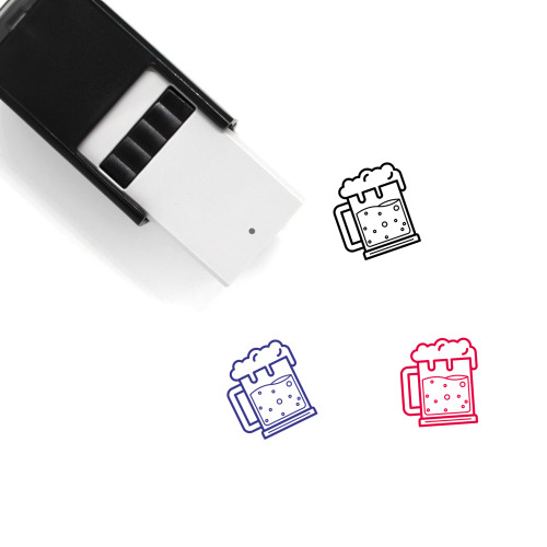 """""""Beer"""" self-inking rubber stamp with 3 sample imprints of the image"""