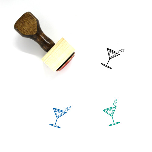 """""""Martini"""" wooden rubber stamp with 3 sample imprints of the image"""