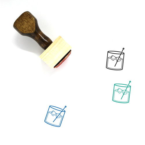 """""""Old Fashioned"""" wooden rubber stamp with 3 sample imprints of the image"""