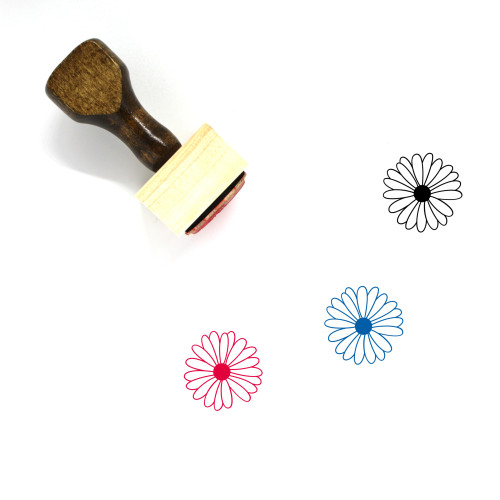 """""""Gerbera"""" wooden rubber stamp with 3 sample imprints of the image"""