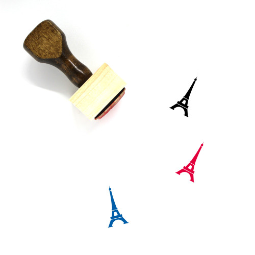 """""""Eiffel Tower"""" wooden rubber stamp with 3 sample imprints of the image"""