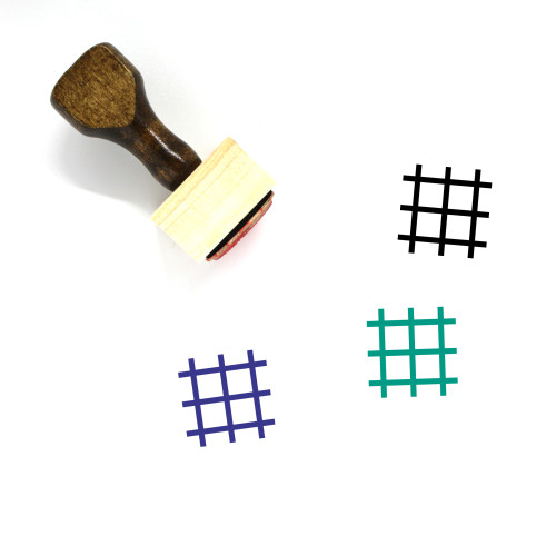"""""""Grid"""" wooden rubber stamp with 3 sample imprints of the image"""
