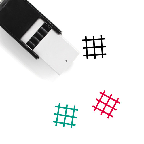"""""""Grid"""" self-inking rubber stamp with 3 sample imprints of the image"""