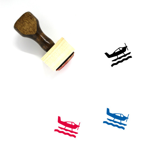 """""""Sea Plane"""" wooden rubber stamp with 3 sample imprints of the image"""