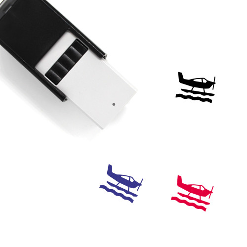 """""""Sea Plane"""" self-inking rubber stamp with 3 sample imprints of the image"""