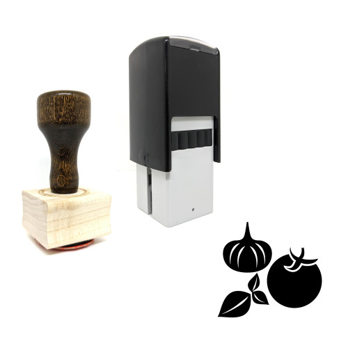"""""""Vegetable"""" rubber stamp with 3 sample imprints of the image"""