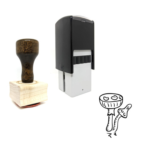 """""""Phalloides Mushroom"""" rubber stamp with 3 sample imprints of the image"""