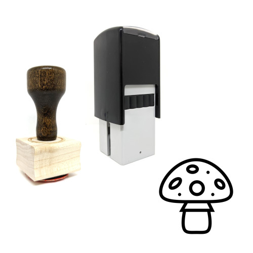 """""""Mushroom"""" rubber stamp with 3 sample imprints of the image"""