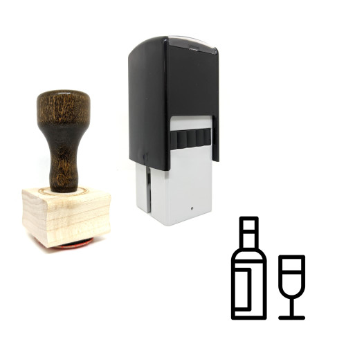 """""""Wine"""" rubber stamp with 3 sample imprints of the image"""