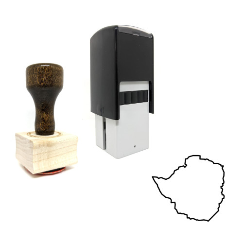 """""""Zimbabwe"""" rubber stamp with 3 sample imprints of the image"""