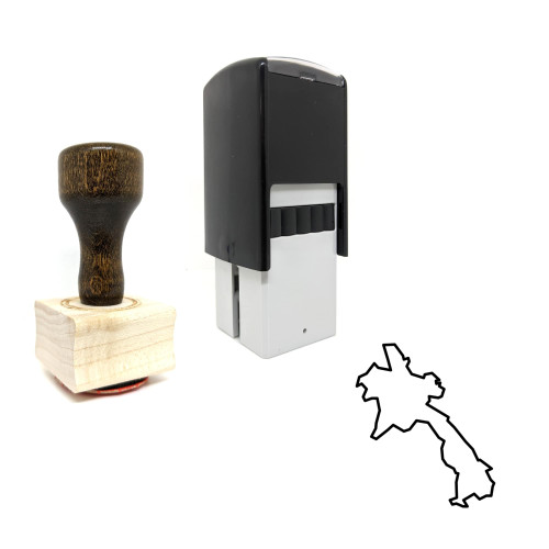"""""""Laos"""" rubber stamp with 3 sample imprints of the image"""
