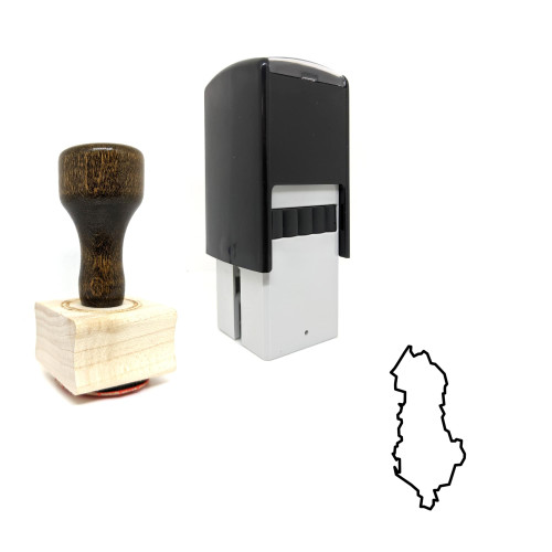 """""""Albania"""" rubber stamp with 3 sample imprints of the image"""