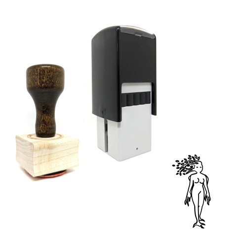 """""""Dryad"""" rubber stamp with 3 sample imprints of the image"""