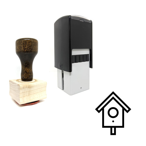 """""""Birdhouse"""" rubber stamp with 3 sample imprints of the image"""