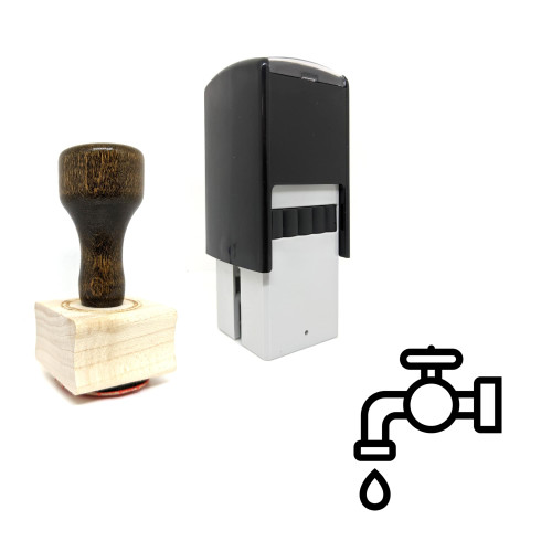 """""""Faucet"""" rubber stamp with 3 sample imprints of the image"""