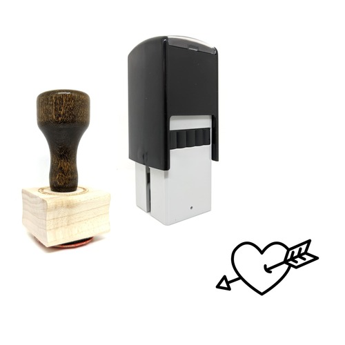 """""""Heart"""" rubber stamp with 3 sample imprints of the image"""