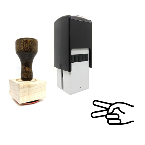 """""""Scissors Hand"""" rubber stamp with 3 sample imprints of the image"""