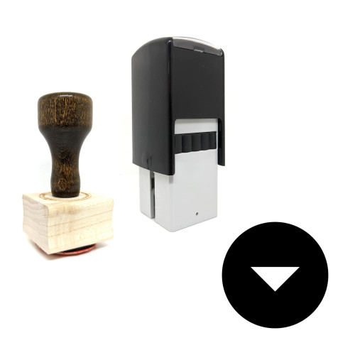 """""""Down Arrow"""" rubber stamp with 3 sample imprints of the image"""