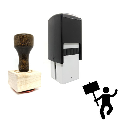 """""""Man Protest"""" rubber stamp with 3 sample imprints of the image"""