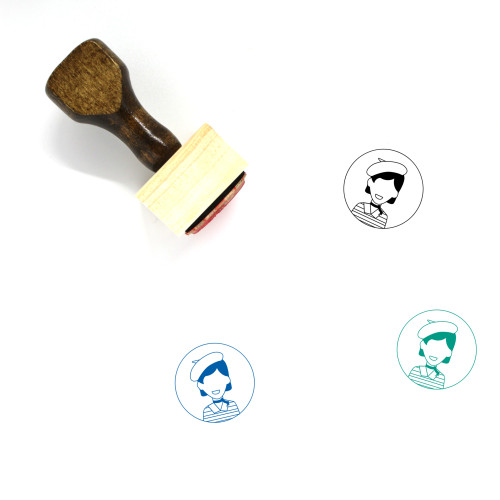 """""""Person"""" wooden rubber stamp with 3 sample imprints of the image"""
