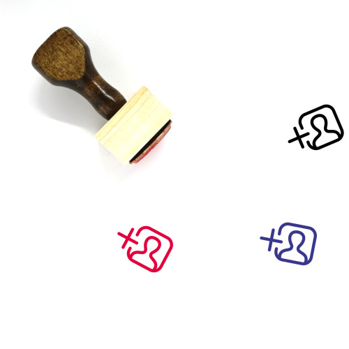 """""""Add User"""" wooden rubber stamp with 3 sample imprints of the image"""