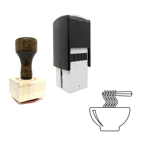 """""""Noodle"""" rubber stamp with 3 sample imprints of the image"""