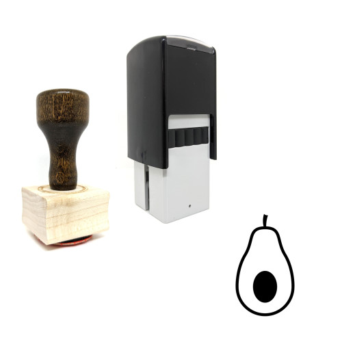 """""""Avocado"""" rubber stamp with 3 sample imprints of the image"""
