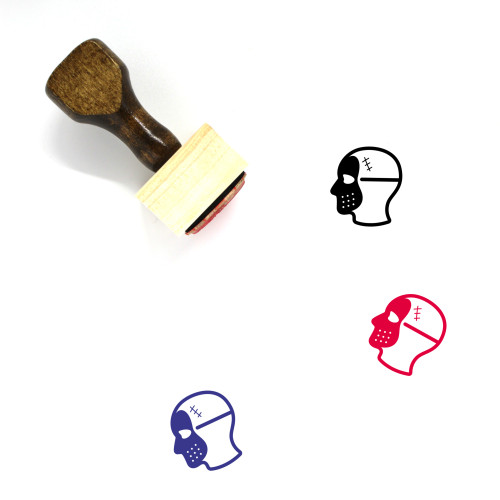 """""""Head Mask"""" wooden rubber stamp with 3 sample imprints of the image"""