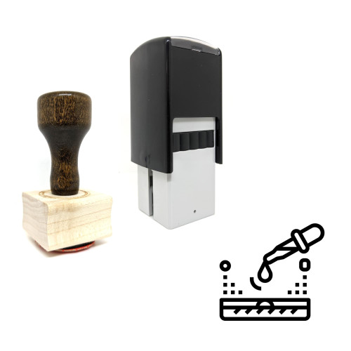 """""""Lab"""" rubber stamp with 3 sample imprints of the image"""