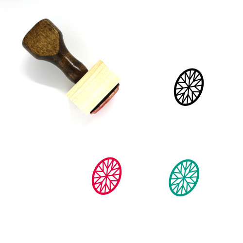 """""""Oval Brilliant Cut"""" wooden rubber stamp with 3 sample imprints of the image"""
