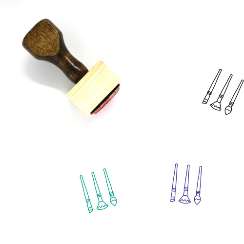 """""""Paint Brushes"""" wooden rubber stamp with 3 sample imprints of the image"""