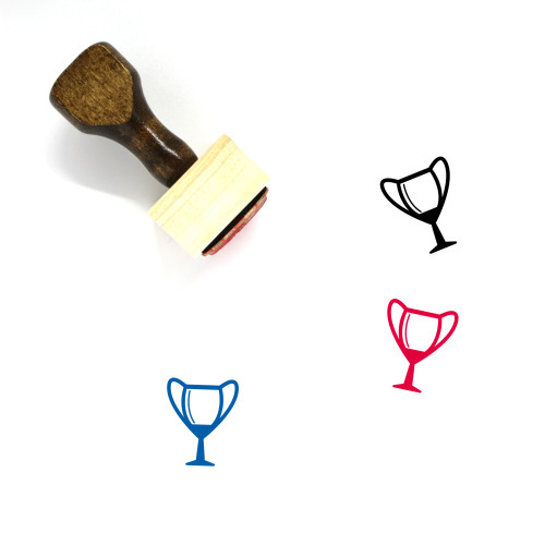 """""""Trophy"""" wooden rubber stamp with 3 sample imprints of the image"""