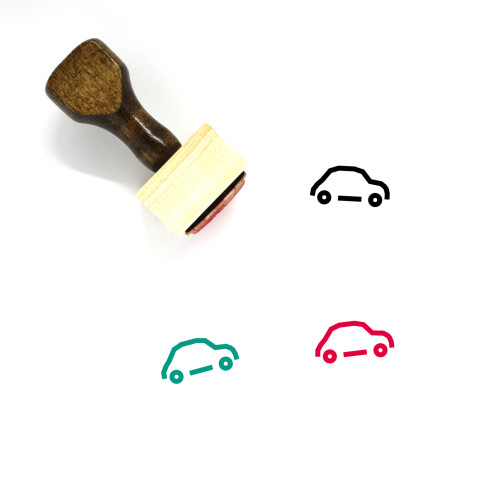 """""""Fiat 500"""" wooden rubber stamp with 3 sample imprints of the image"""