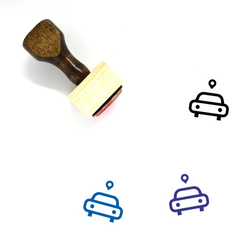 """""""Pin Car"""" wooden rubber stamp with 3 sample imprints of the image"""