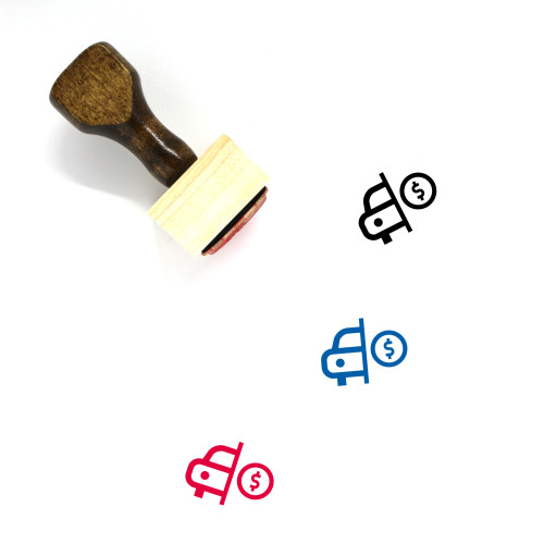 """""""Buy Car"""" wooden rubber stamp with 3 sample imprints of the image"""